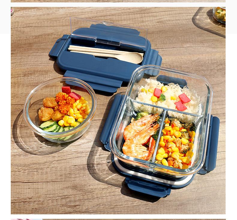玻璃饭盒分隔型上班族带饭可微波炉加热专用碗学生便当盒餐盒套装详细照片