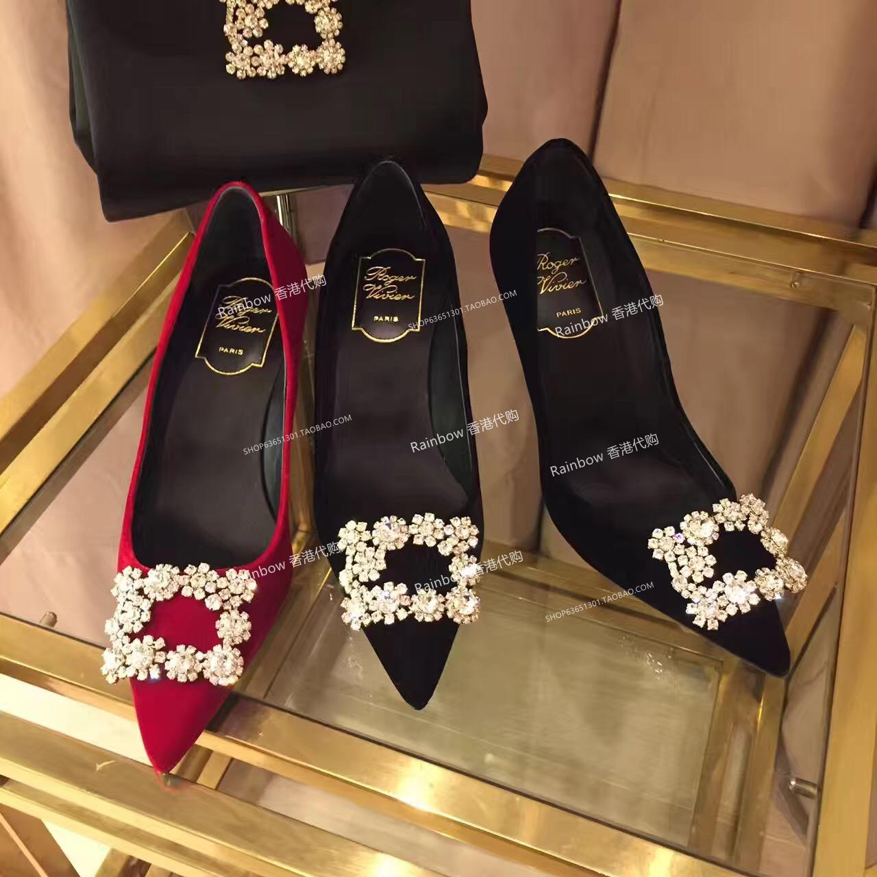 8683569ddf8 Hong Kong purchasing rv high heels flowers Rhinestone square buckle wedding  shoes shoes 18 New pointed fine with a single flat shoes