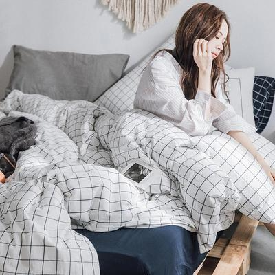 日式小清新ins网红款水洗棉纯色床单简约被套四件套全棉1.8床笠式