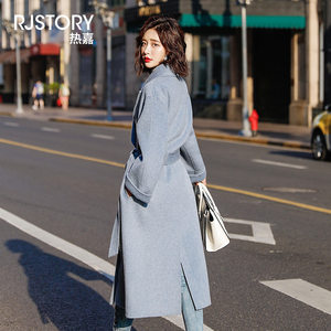 赫本风呢子大衣女冬季2018新款阿尔巴卡双面羊绒waitmore毛呢外套