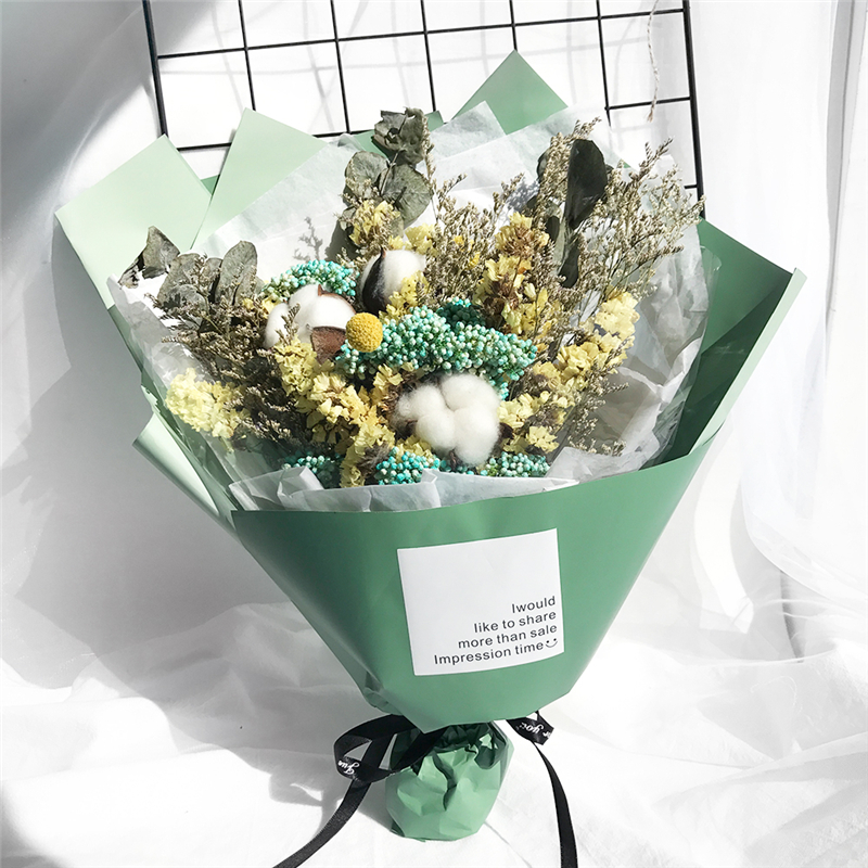 Dried flowers, real flowers, baby\'s bouquet, cotton, forget-me-nots ...