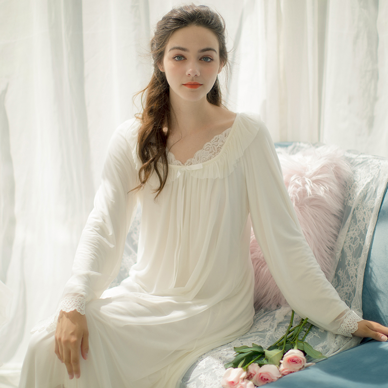 645723ba3f Autumn new princess nightdress female lace retro Palace pajamas V-neck long- sleeved mesh. Zoom · lightbox moreview · lightbox moreview ...