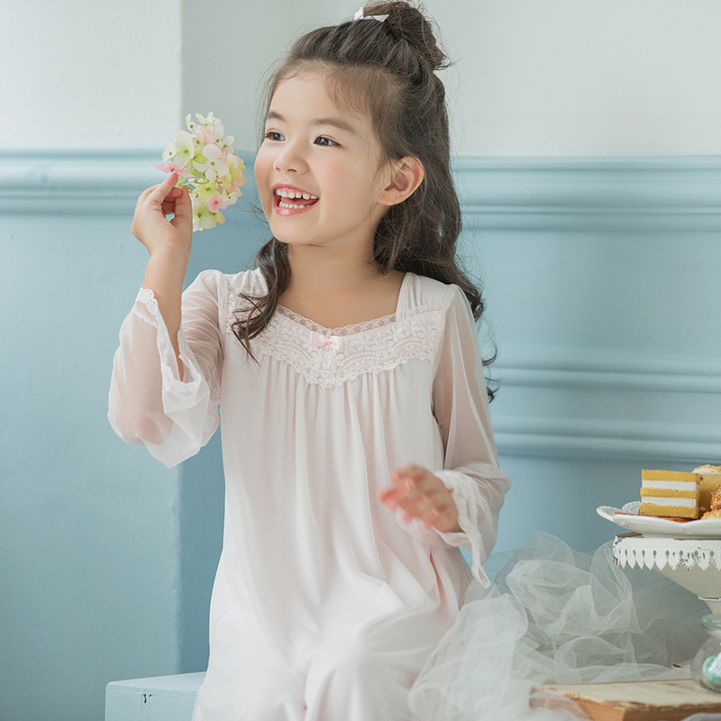 901a78b2a8 ... lace nightdress  Share. Autumn and winter girls palace style pajamas  sweet cute baby parenting children s princess long-sleeved
