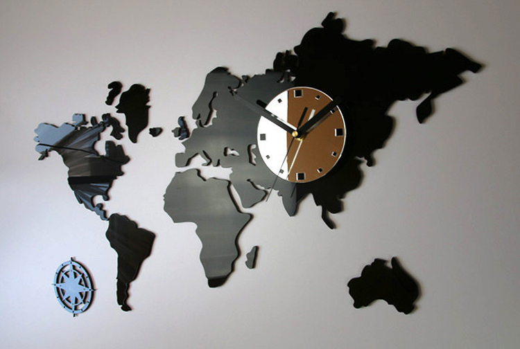 World Map Clock Mute Acrylic World Map Clock Log Color Wall Eco Map Sticker  World Map Clock