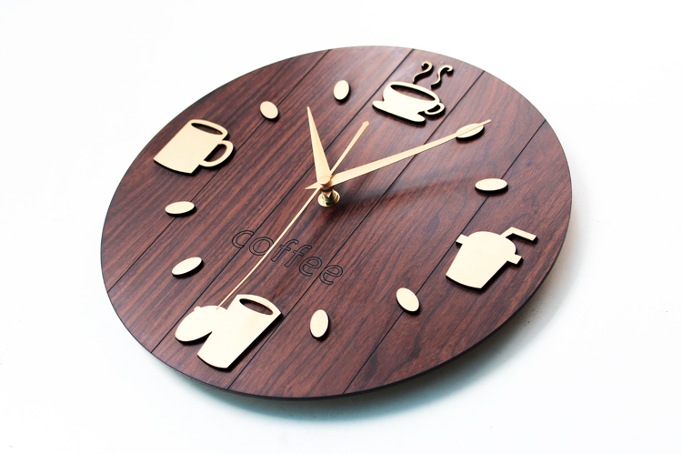 Coffee Cup Wall Clock Pastoral Retro Vintage Watch Home