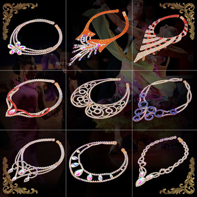 Diamond necklace for women's competition ballroom latin dance diamond necklace Professional Crystal Jewelry Performance choker