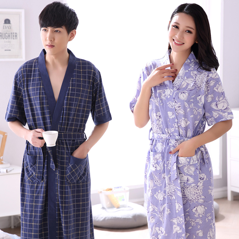 1857efdf3dcb Couple nightgown summer half-sleeved cotton long pajamas bathrobe men s  bathrobes women kimono Japanese nightgown women thin section