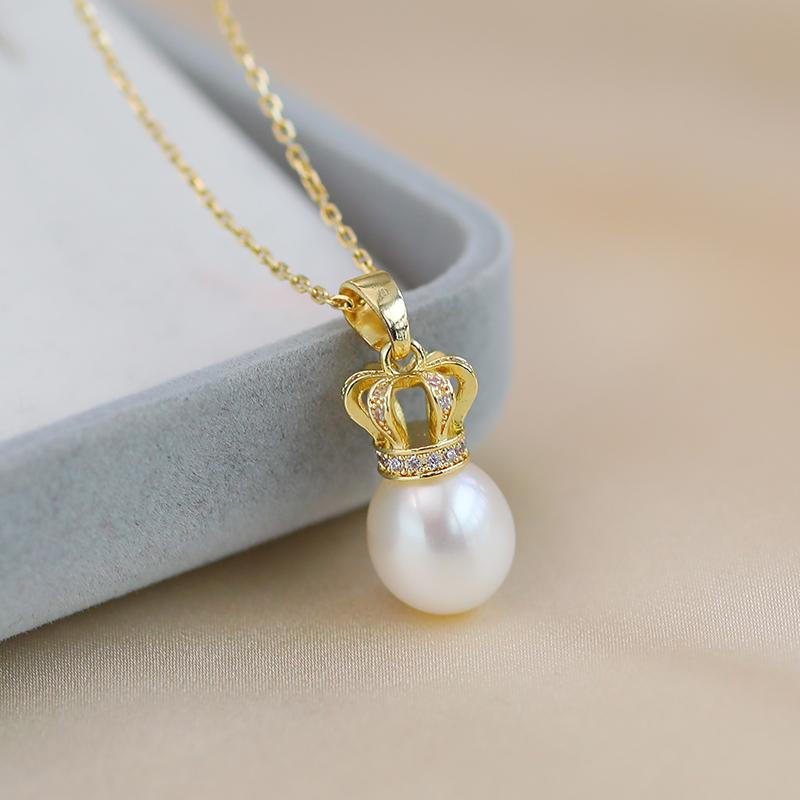 黛米珠宝 荣耀 8-9mm淡水珍珠项链 小皇冠单颗吊坠情人节礼物T