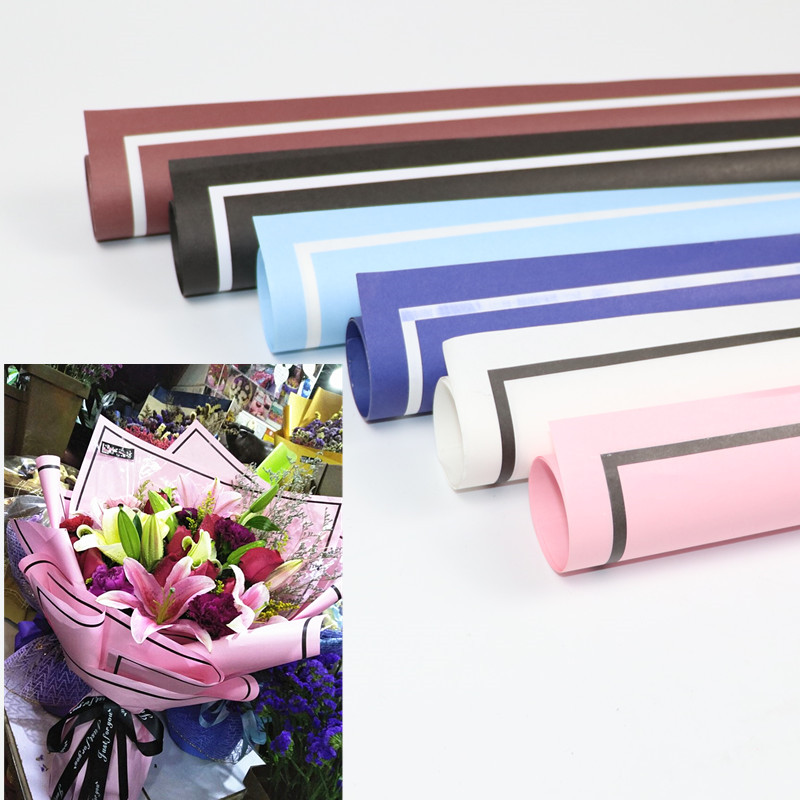 Bouquet Wrapping Paper Simple Flower Paper Black And White Border High End Flowers Wrapping Paper Material 20 Fashion Packaging Materials