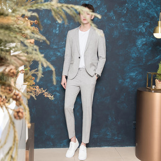 CSO summer men's fashion casual small gray suits Slim suits and handsome groom for Korean students