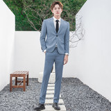 CSO spring and summer men's Korean style casual small suit suit smog blue light business slim suit formal wear groom