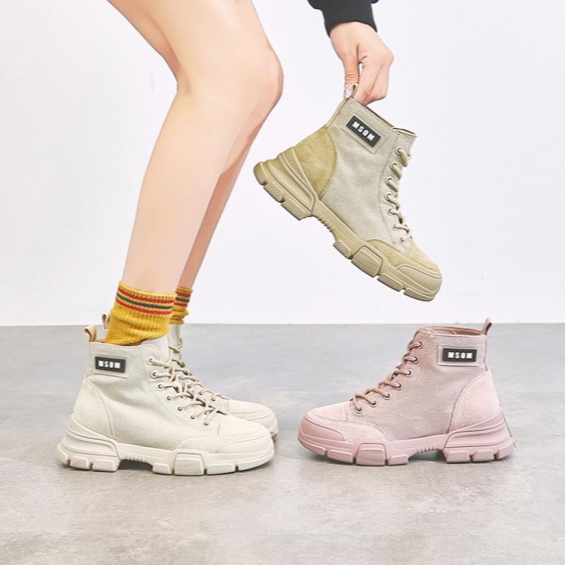 帆布马丁靴女英伦风薄款2019夏季新款秋单透气网红ins潮帅气短靴