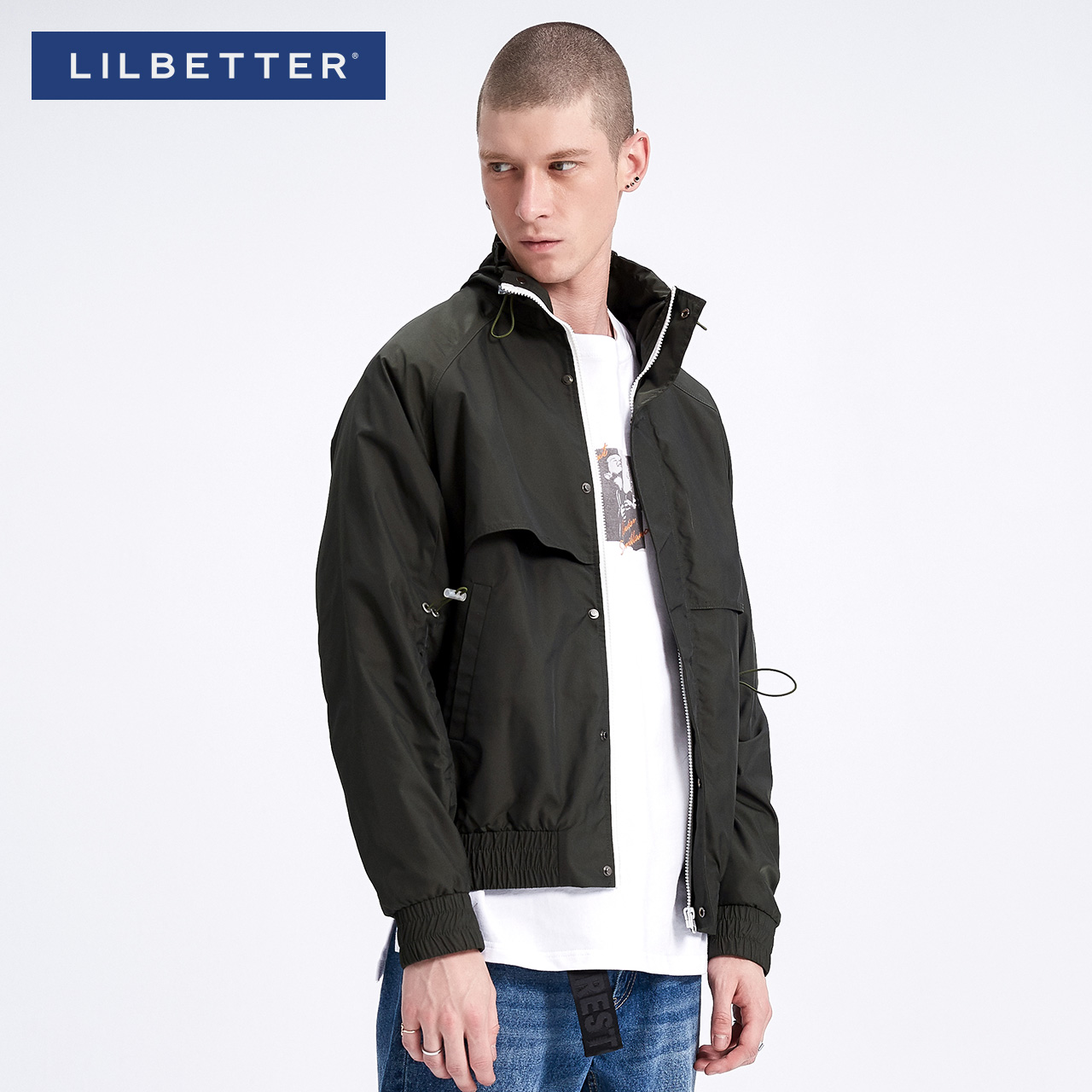 Lilbetter Men's coat spring tide brand handsome turtleneck coat hip-hop loose Japanese casual jacket man