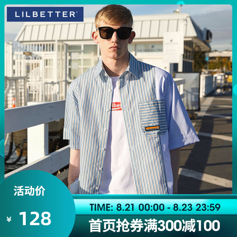Lilbetter short-sleeved shirt male Korean striped shirt summer trend loose half-sleeved tide wild short-sleeved ins tide