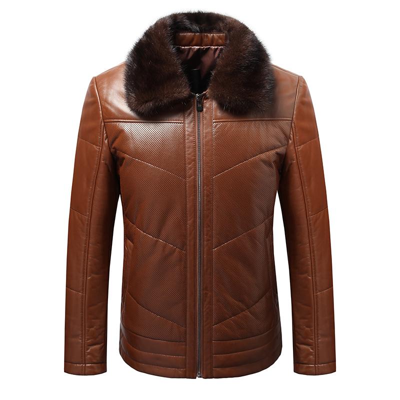 冬季男士真皮皮衣水貂领皮衣外套加棉款海宁皮衣短款翻领