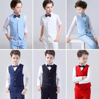 Boy dress vest suit birthday small suit wedding flower dress boy chorus piano performance suits
