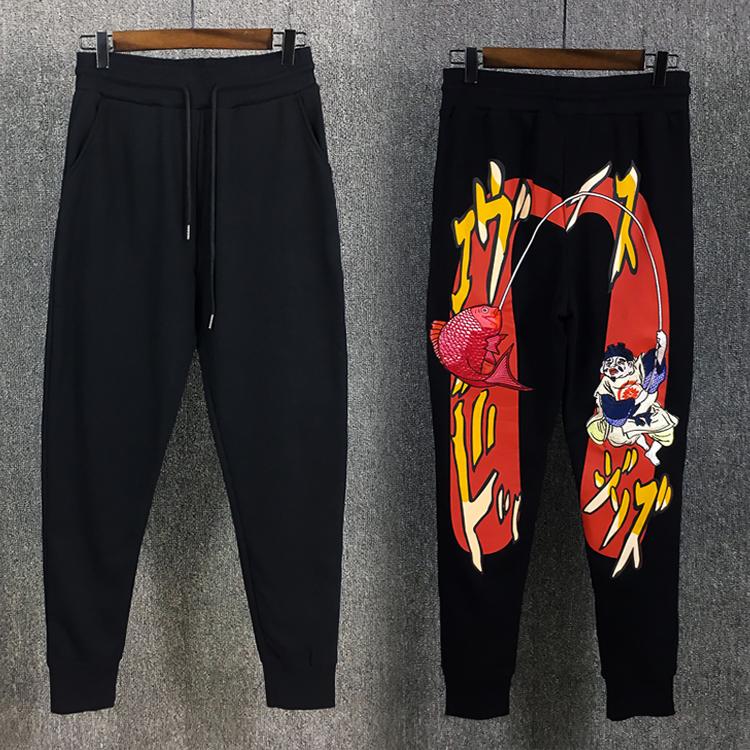 Triều mùa hè thương hiệu thanh niên hậu cung quần lớn m in ấn cá tính wei quần người đàn ông chen guanxi fu thần bông thể thao quần