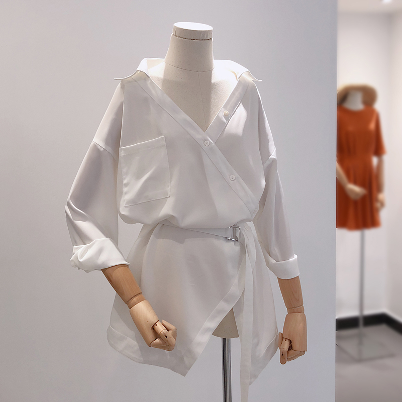 雪纺衬衫裙不规则宽松显瘦蝙蝠中长款衬衣白衬衫女V领腰带上衣