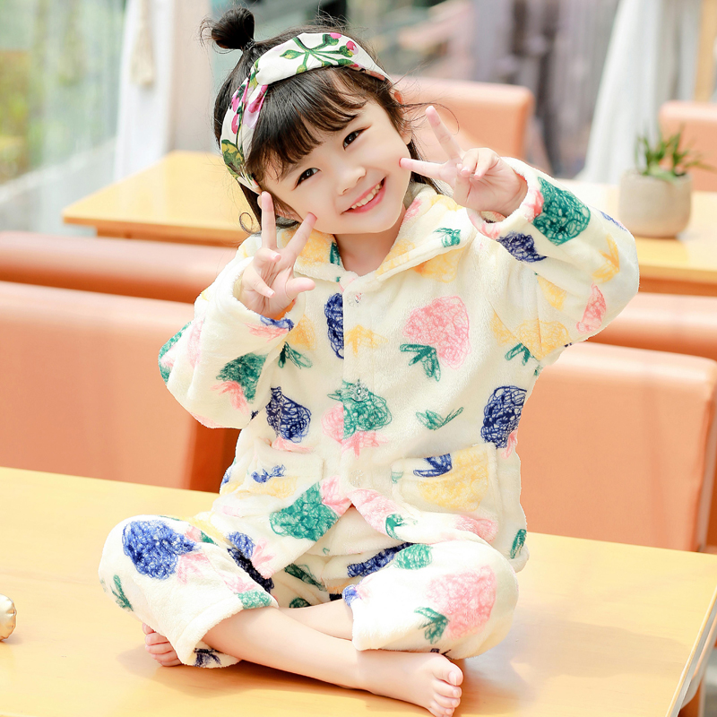e1eaec57a45d USD 14.29  Flannel children s pajamas autumn and winter long-sleeved ...