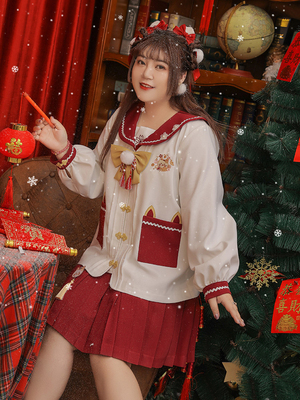taobao agent Hard candy large size original winter new year kindergarten clothing college suit new year cover meat cute pleated skirt spring