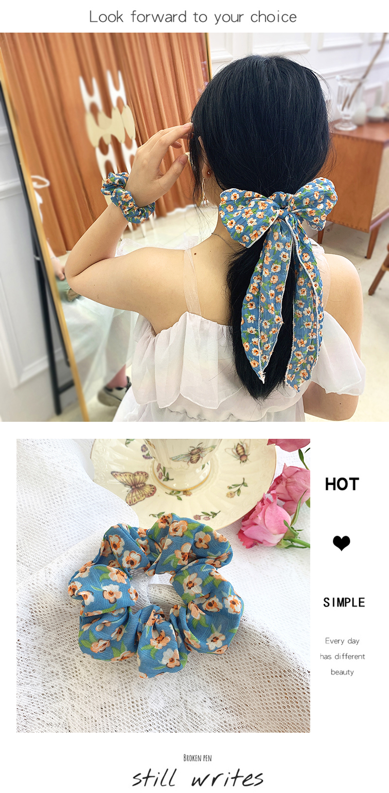 Clear sky blue floral bow hair scrunchies sweet chiffon ponytail head rope super fairy streamer hair ring wholesale nihaojewelry NHOF221462