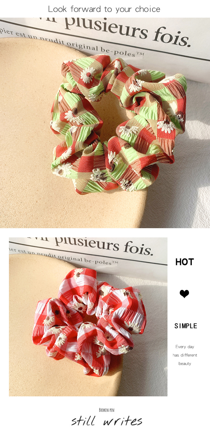 French daisy manor spring and summer small floral streamer hair rope super fairy elegant hair circle head rope forest hair accessories headdress NHOF217379
