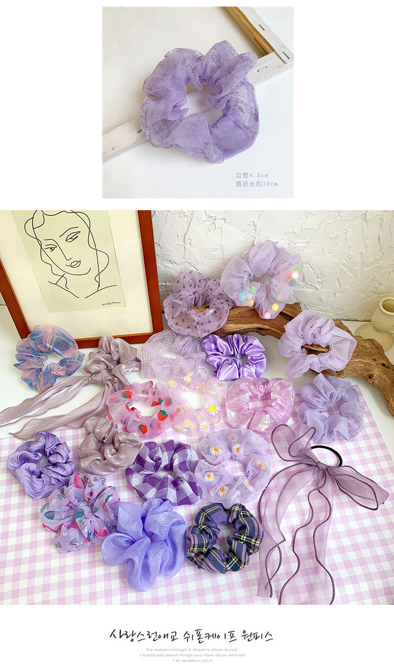 Purple girl hair scrunchies homemade retro solid color large intestine hair ring gentle simple fabric hair rope wholesale nihaojewelry NHOF219456