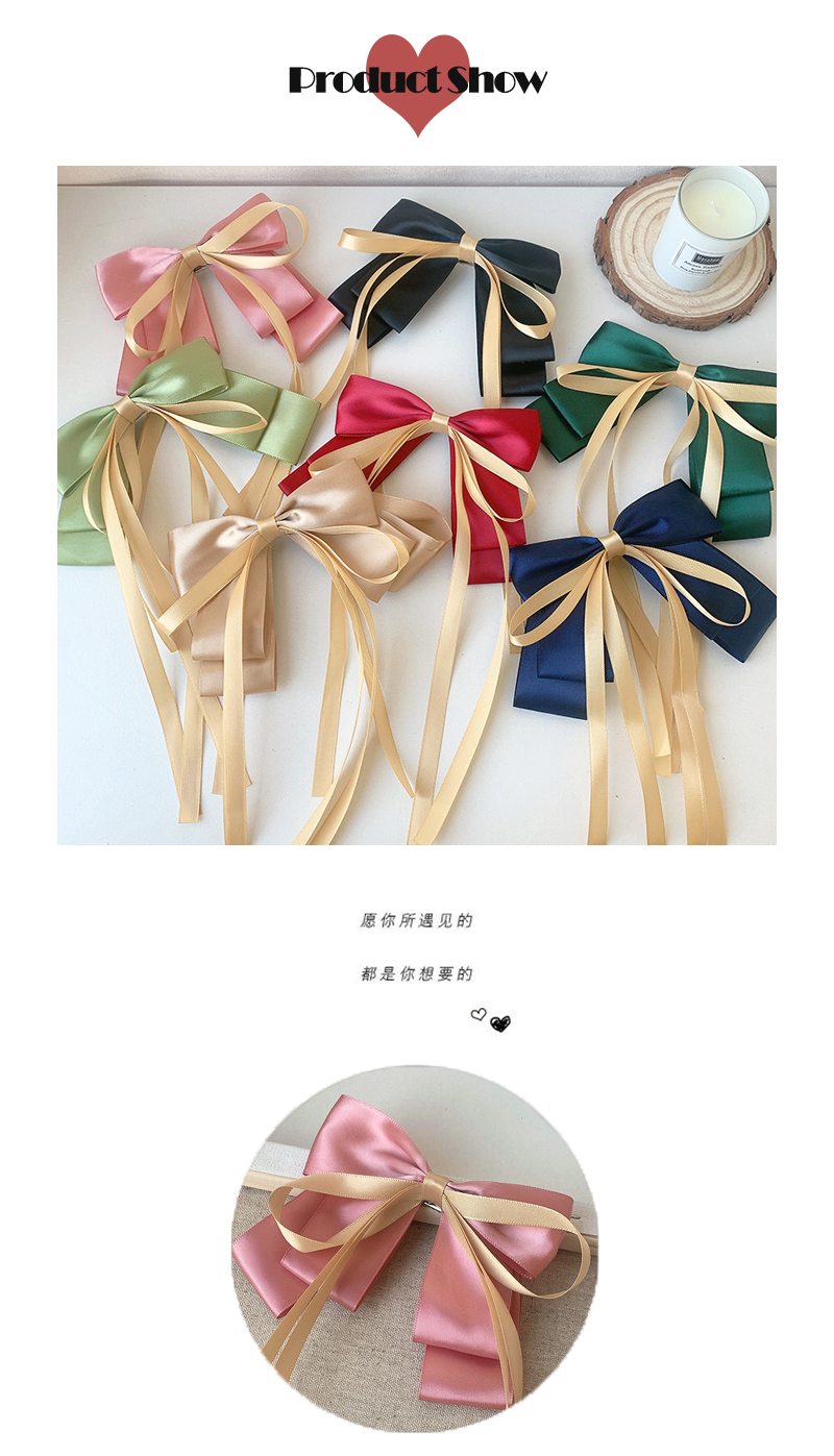 new solid color big bow hairpin NHOF311756