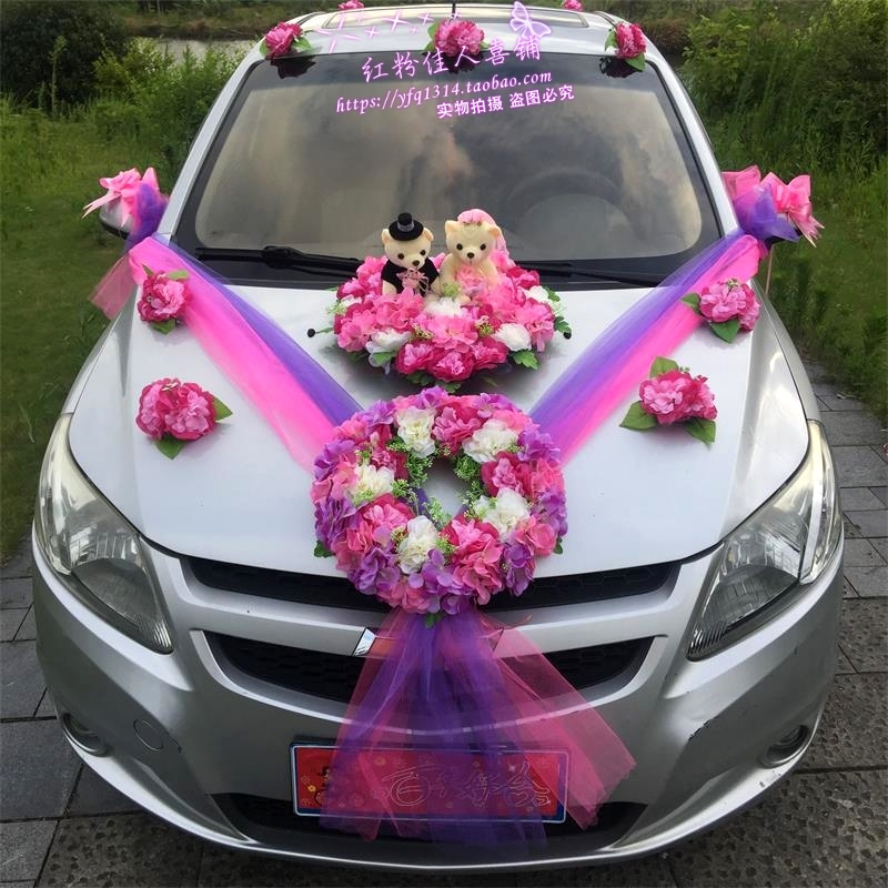 USD 18.43] Wedding car decoration wedding car decoration kit wedding ...