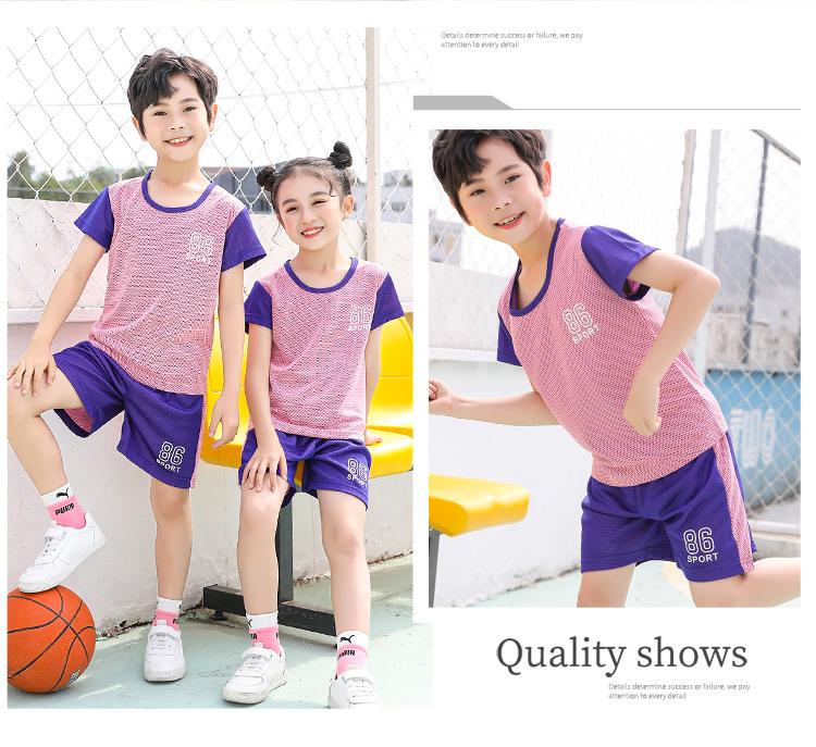 儿童速干短袖恤短裤篮球服套装男孩小学生女童球衣运动服童装夏详细照片