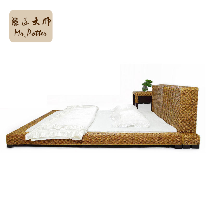 Pastoral Rattan Bed Indonesian Rattan Wood Double Bed Leisure Rattan