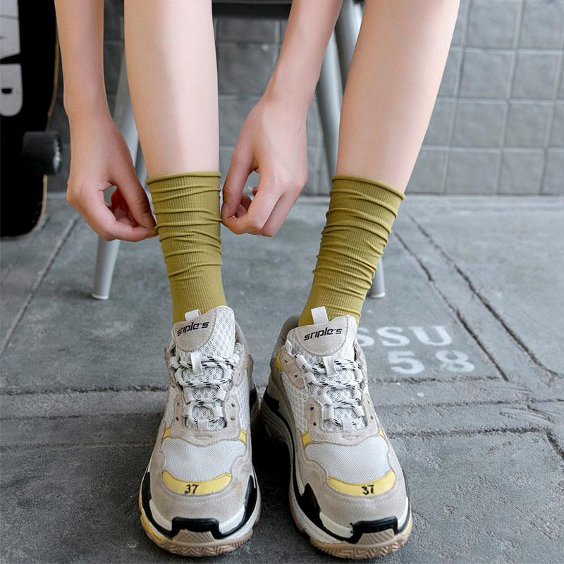 【4双装】ins潮天鹅绒糖果色彩色堆堆袜