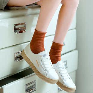 玲珑阁纯色袜子中筒堆堆袜4双