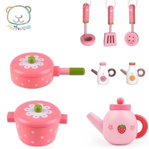 Yiwang nhà gỗ đồ nội thất nhà bếp dao kéo nấu ăn đồ chơi chảo chảo lẩu ấm trà