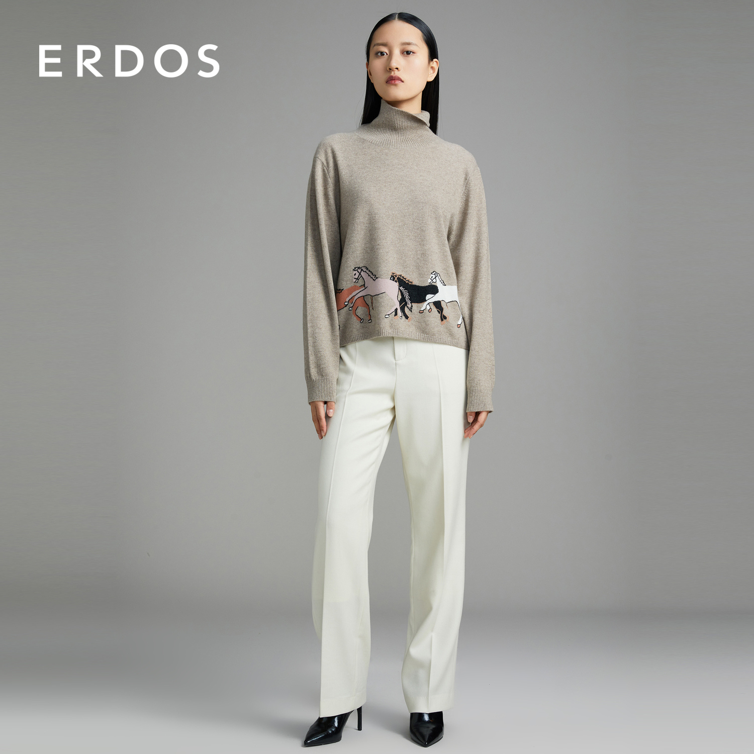 ERDOS Turtleneck Horse Decorative Jacquard Women's Cashmere knitwear