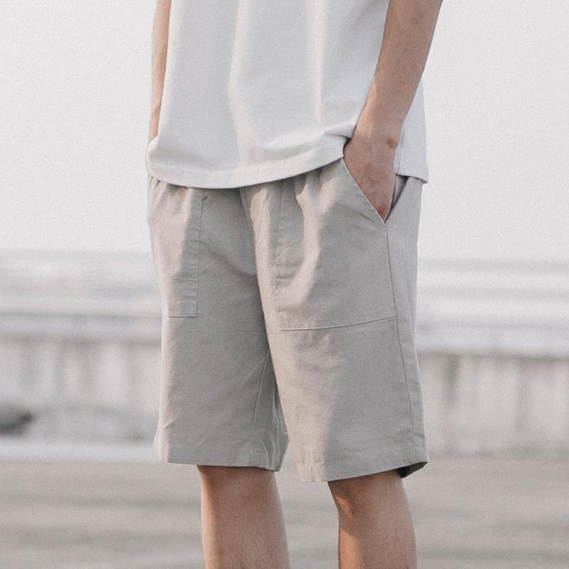 夏季短裤男宽松亚麻裤潮牌裤子休闲裤男棉麻薄款五分裤沙滩裤中裤