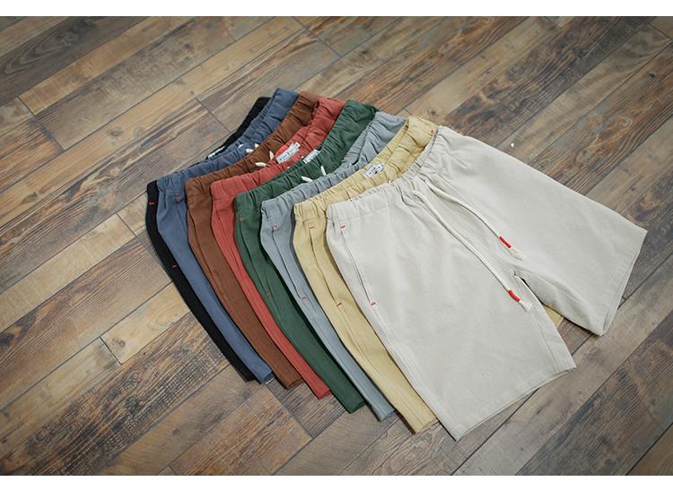 GBOY ánh sáng mùa hè và cotton thoáng khí và linen quần short nam Nhật Bản thanh niên rắn màu rửa quần bãi biển quần lỏng lẻo