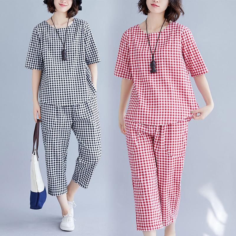 夏季新款套装大码百搭竖排扣时尚T恤v套装七分裤显瘦两件棉麻格子