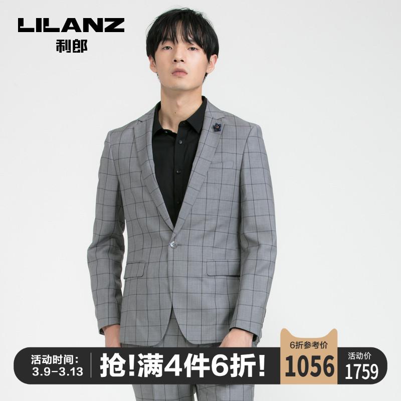 Lilang chính thức phù hợp với nam mỏng phiên bản Hàn Quốc của 100% phù hợp với len phù hợp với thời trang kiểm tra mẫu phù hợp với nam - Suit phù hợp