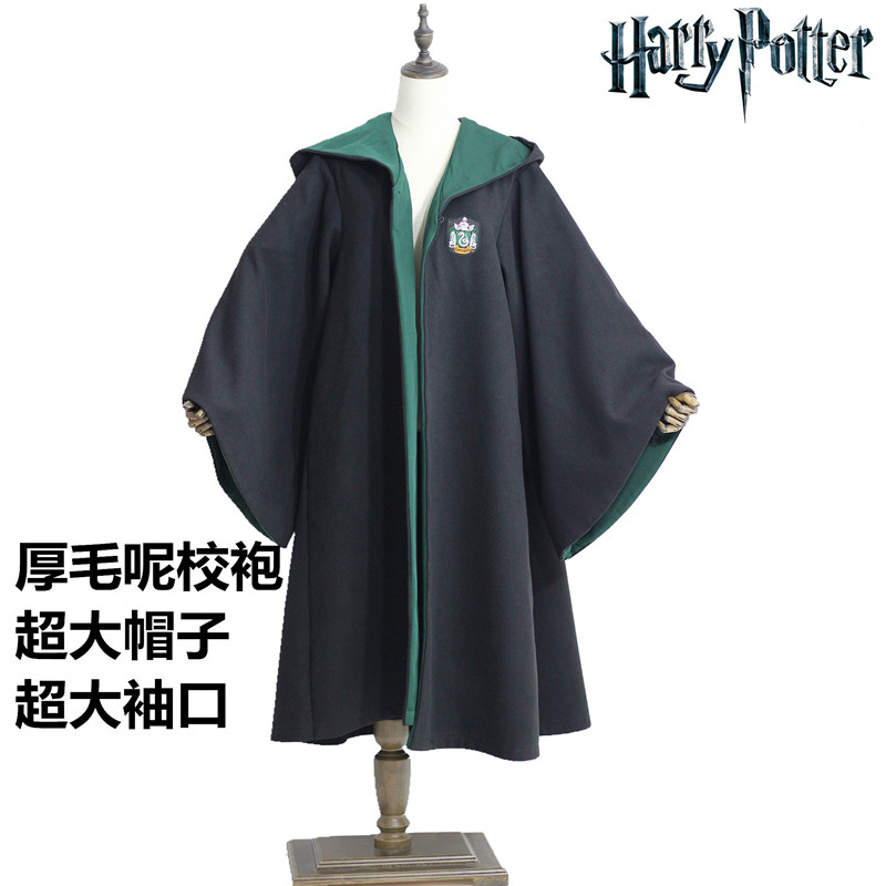 harry potter school gown magic robe gryffindor slytherin cos thick woolen cape halloween costume
