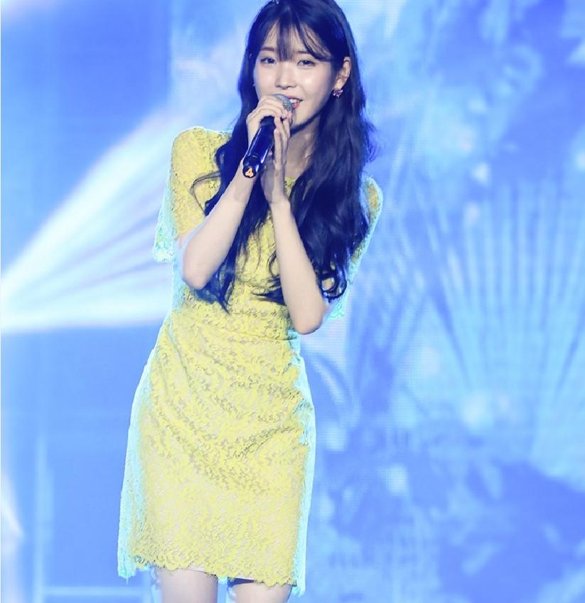 长沙演唱会Iu李智恩同款连衣裙圆领柠檬黄短裙连衣裙夏季韩版蕾丝