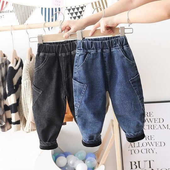 Boys plus velvet jeans autumn and winter small children plus velvet plus thick trousers baby Korean version of casual warm Haron pants