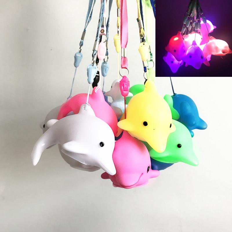 闪光快闪挂绳礼物小夜灯海洋馆海豚礼品儿童玩具微商扫码七彩