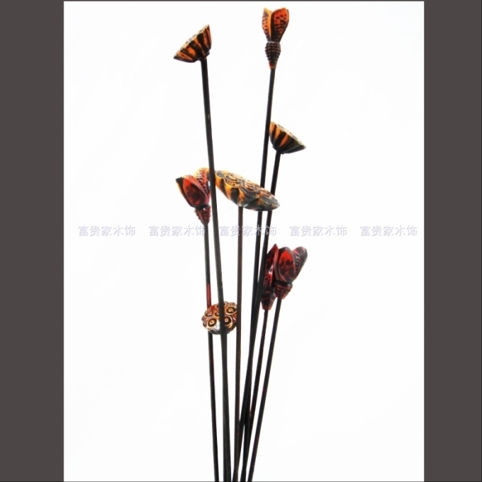 Creative home decoration wood carving wood craft gift decoration simulation flower slicing ornaments flower arrangement flower bud lotus vase