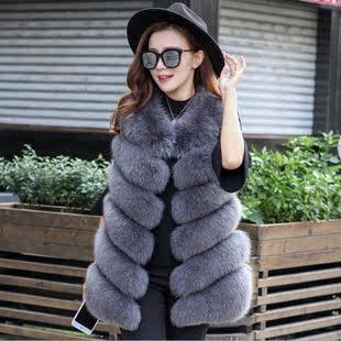 2020 новый искусственная кожа трава жилет девочки длинная модель лиса волосы шуба жилет пальто Женская зима шуба жилет корейский