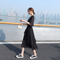 Black Polka Dot Chiffon Dress Women's Summer Dress 2020 New Waist Waist and Thin Temperament V-neck A-line Cake Skirt Length
