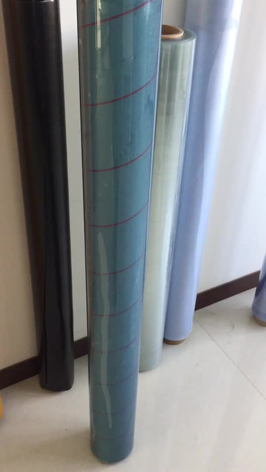 blue color soft transparent pvc super clear film for bag and table cloth