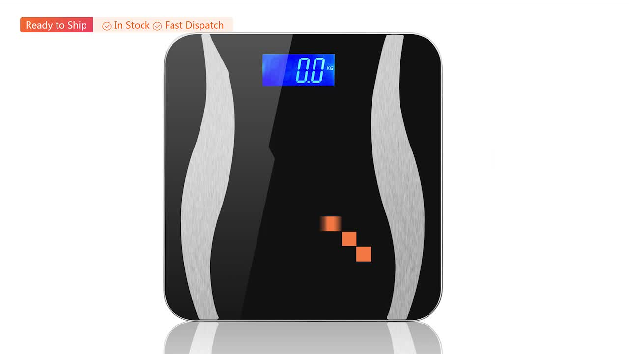 TS-BF8014 tempered glass Top quality USB rechargeable LED display ITO full cover digital body fat bluetooth smart scale
