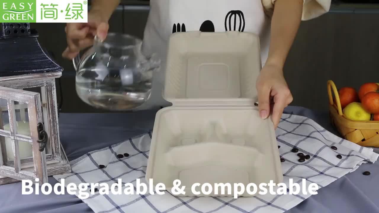 Mudah Hijau Clamshell Biodegradable Microwave Alami Tebu Pulp Ampas Tebu Wadah Makanan
