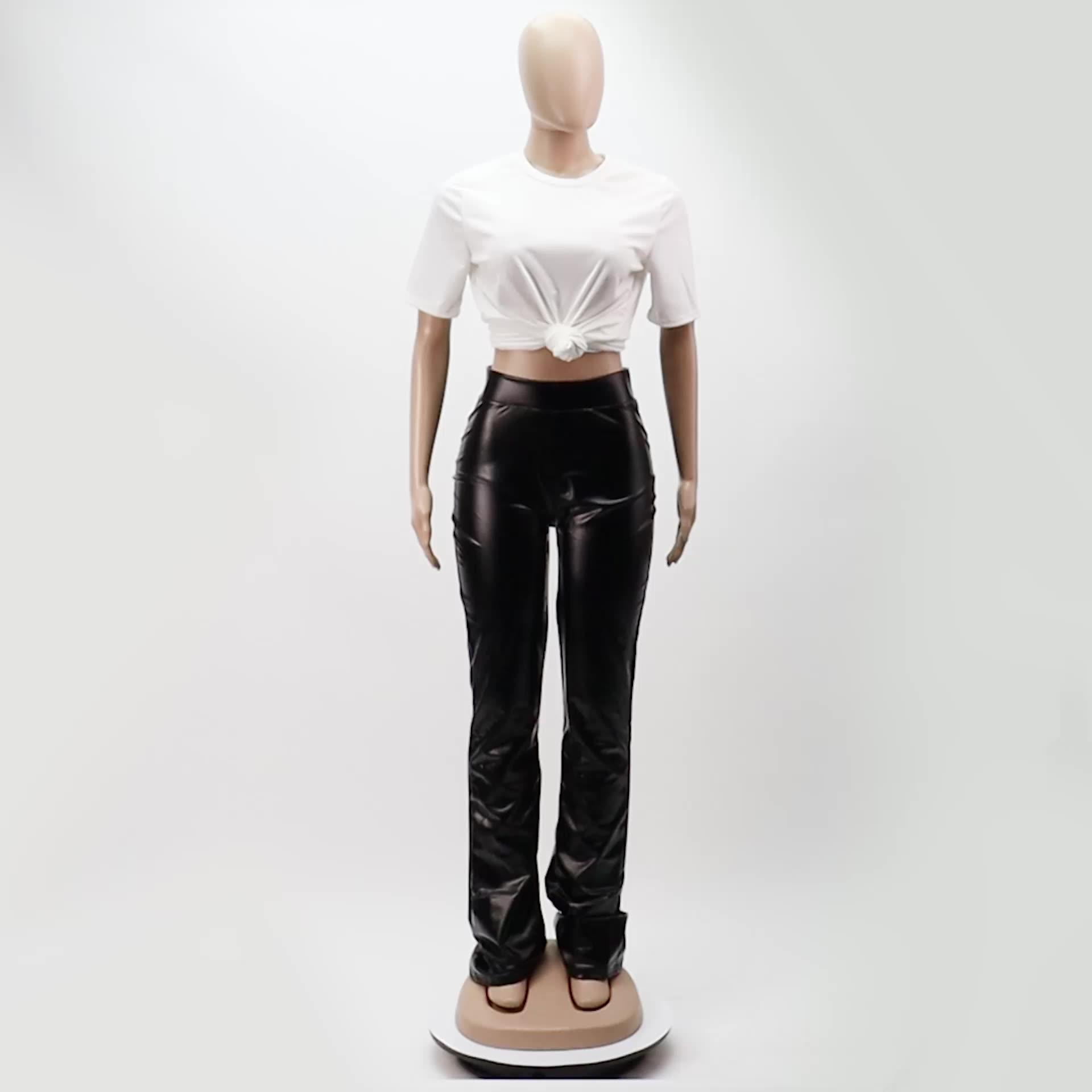 ผู้หญิงกลางเอวฤดูใบไม้ร่วงฤดูหนาวใหม่ผลิตภัณฑ์CasualกางเกงขายาวPUหนังFlaredซ้อนกางเกง